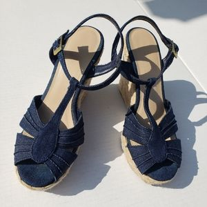 American Eagle espardilla wedge sandal blue denim